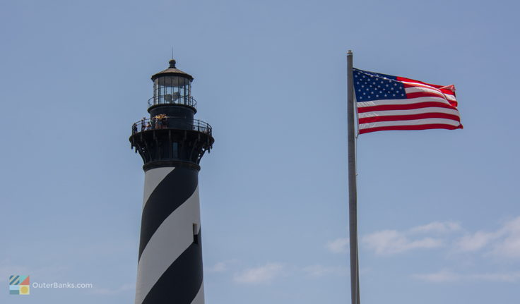 Visitors climb Cape Hatteras Lighthouse